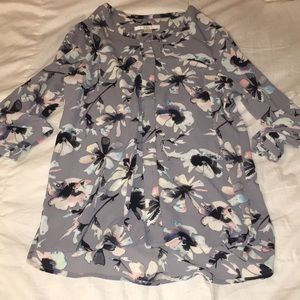 Work blouse grey floral size small c&e